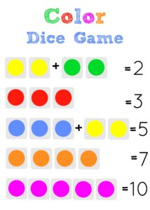 color dice game for kids, a fun hands-on math game!