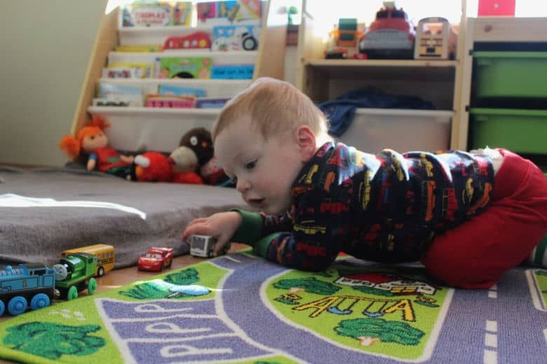 playroom rug and toddler bookshelf