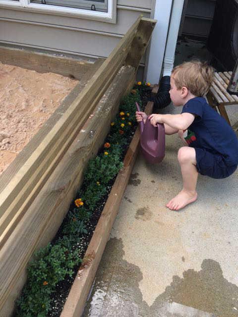 Sandbox Idea- Add a flower-box! Easy diy sandbox.
