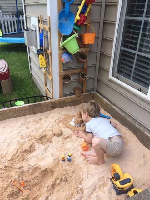 toy storage for sandbox - 2 ways!