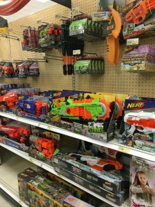 A whole aisle of weapons...