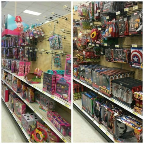 The girl's aisle and the boy's aisles