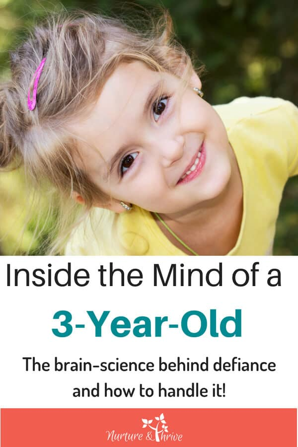 Your 3-year-old knows better, but can they do better? How the immature 3-year-old brain creates a disconnect between knowing better and doing better. How parents can help bridge that gap and diffuse power struggles and defiance once and for all!!! #3yearolds #toddlers #toddlerbrain #toddlerdefiance #positiveparenting #mindfulparenting