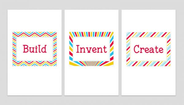 Set of Three Printable Playroom Signs: Build, Invent, Create 4