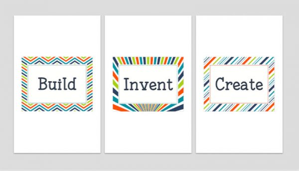 Set of Three Printable Playroom Signs: Build, Invent, Create 5