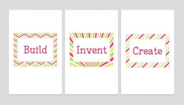Set of Three Printable Playroom Signs: Build, Invent, Create 3