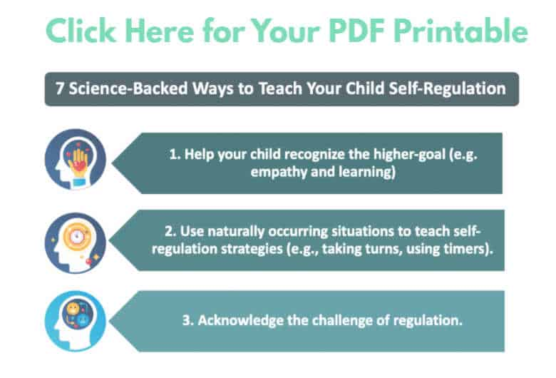 7 Ways to Teach Your Child Self-Regulation -- Free printable