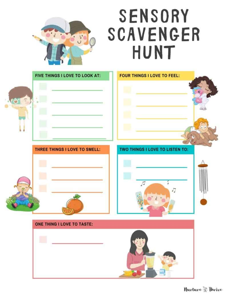 A Sensory Scavenger Hunt For Kids to Help Them Reduce Anxiety - Printable!