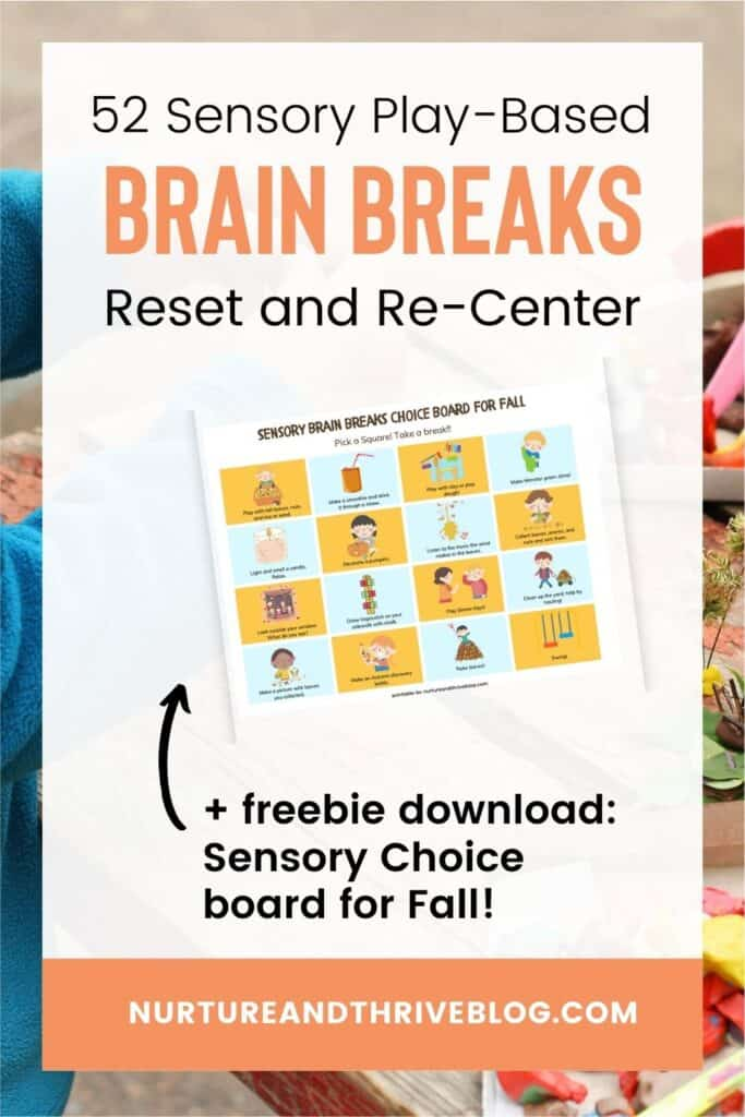 sensory brain break choice board