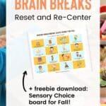 sensory brain breaks choice board
