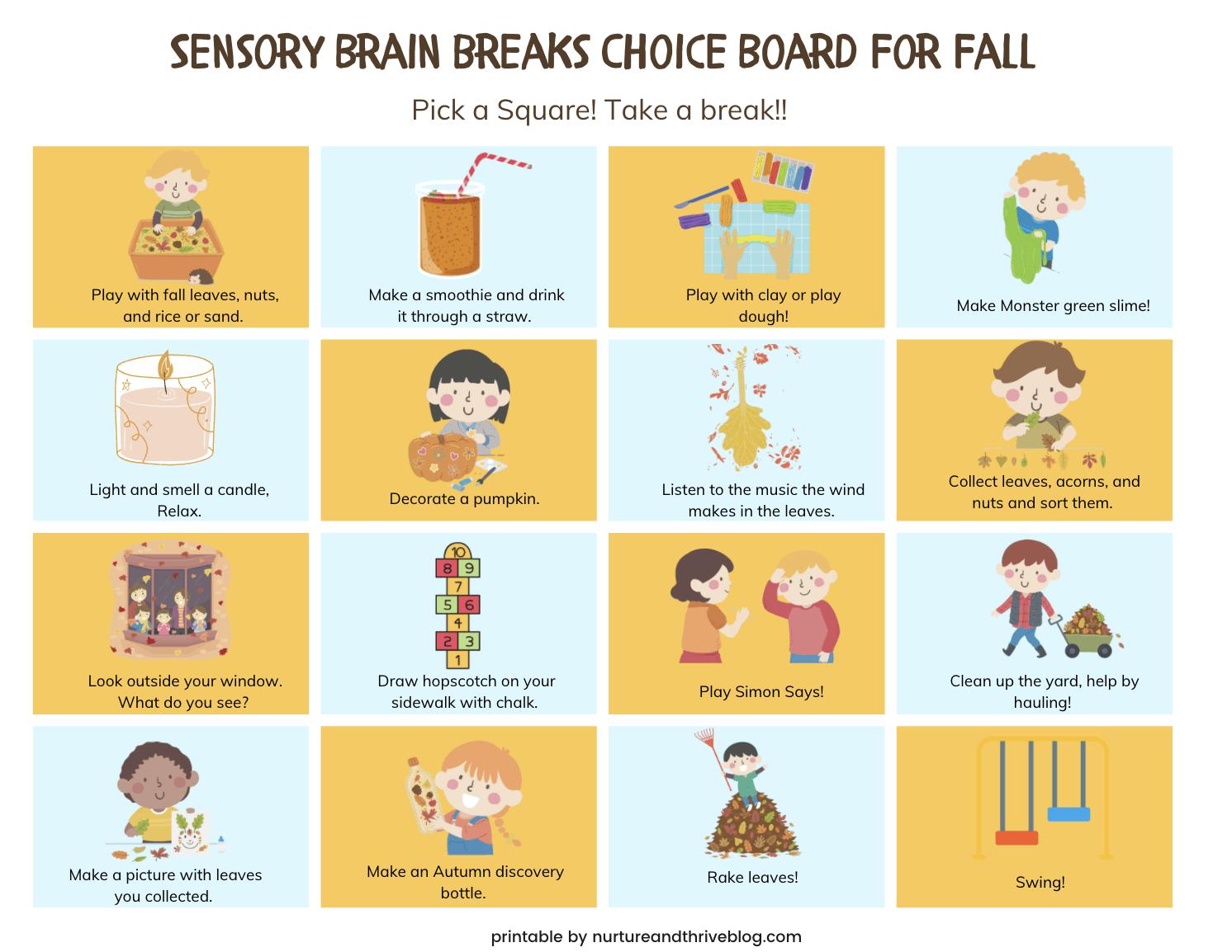 sensory choice board
