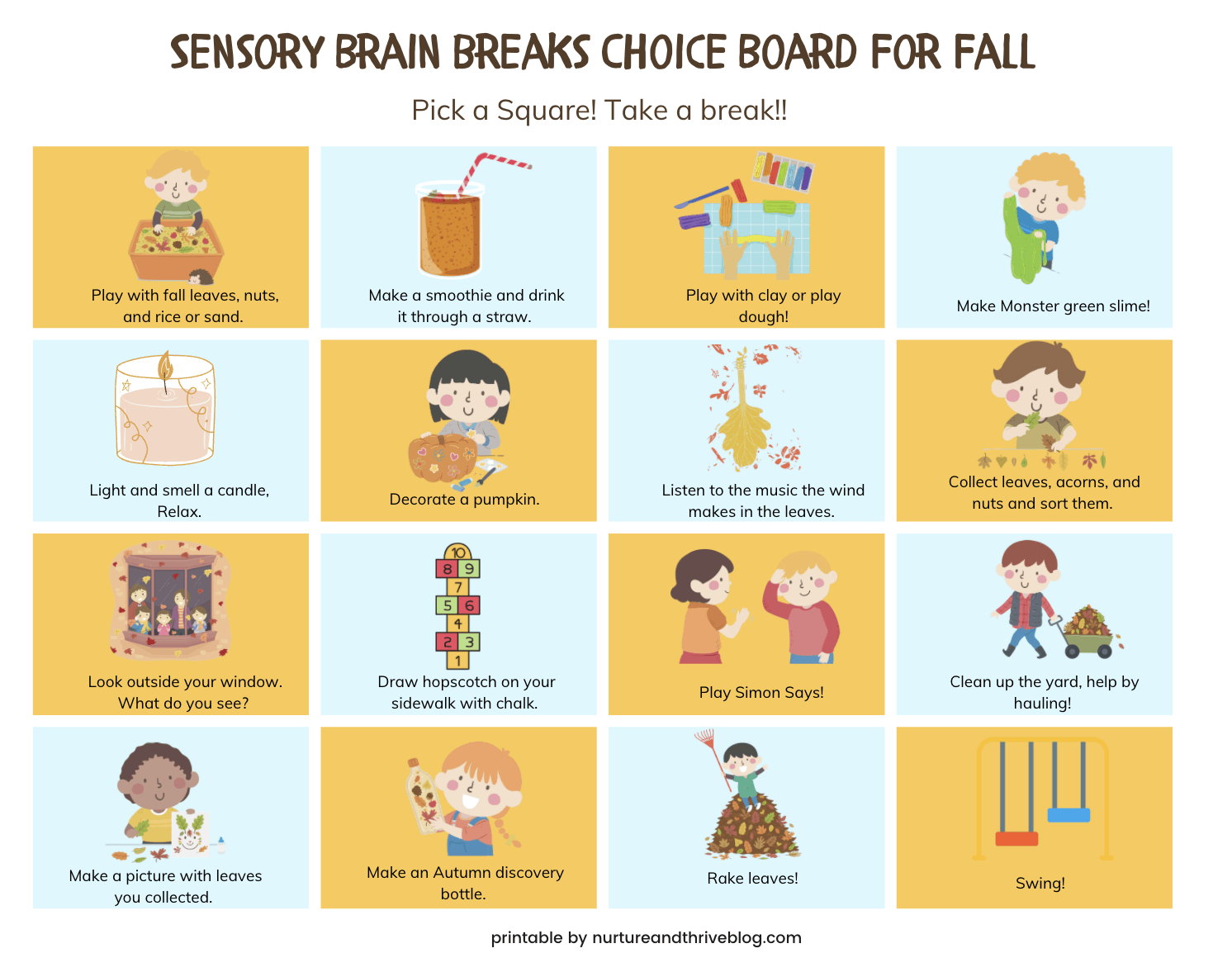 sensory choice board