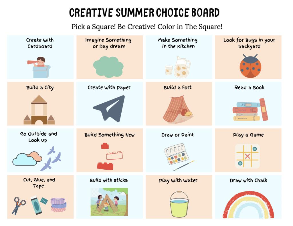 Creative Summer Choice Board