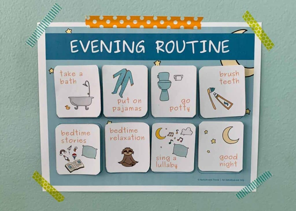 Daily routine charts and cards for toddlers and kids. Bedtime routine chart.