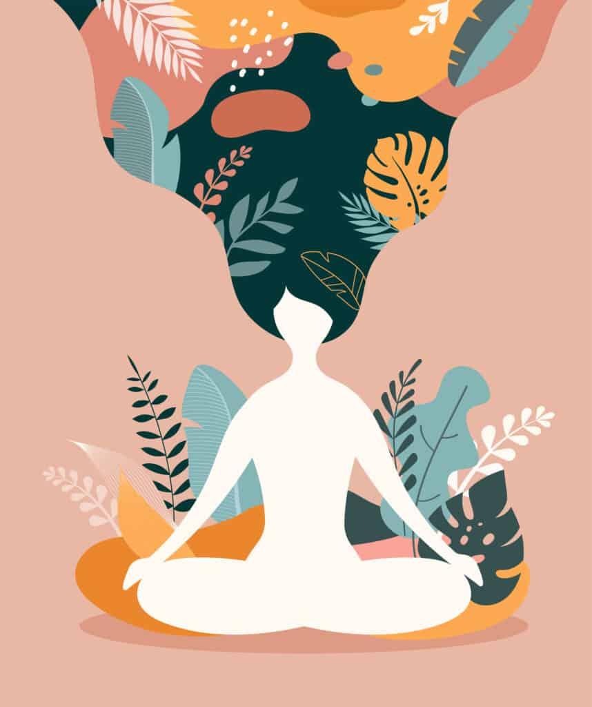 image of a women meditating