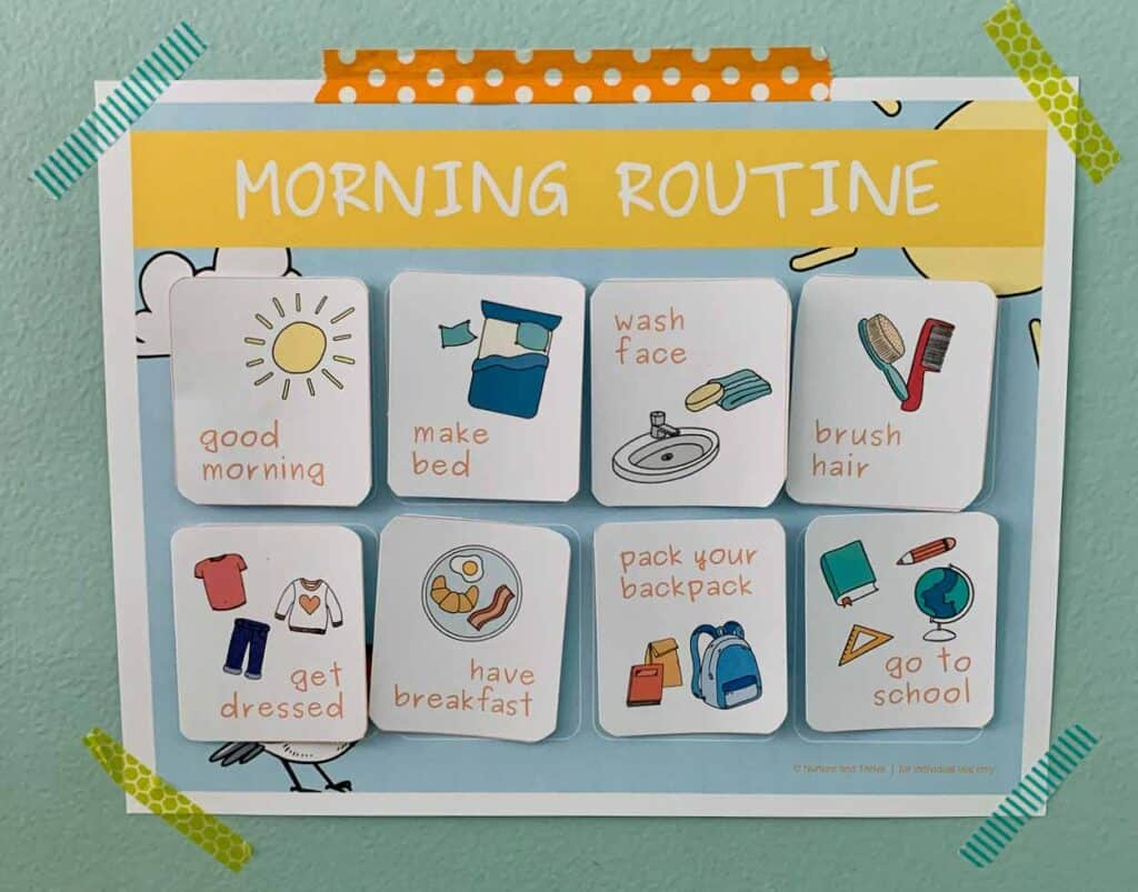 Morning Routine Chart for Toddlers and Kids