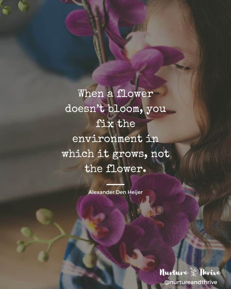 how to parent sensitive children: When a flower doesn't bloom, you fix the environment in which it grows, not the flower. -Alexander Den Heijer 